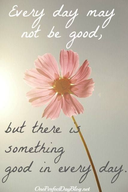 Every day may not be good, but there is something good in every day..