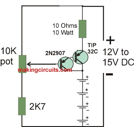 simple current controlled battery charger circuit using a single Darlington BJT