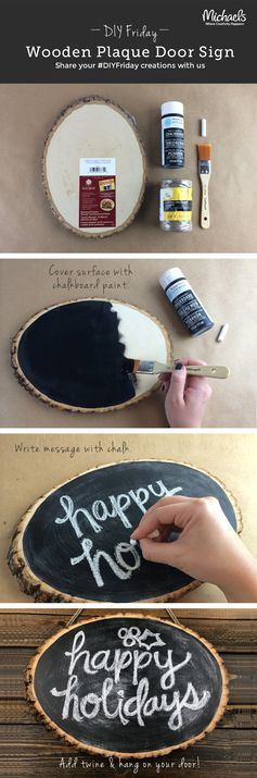 This DIY Wooden plaque door sign is too cute.