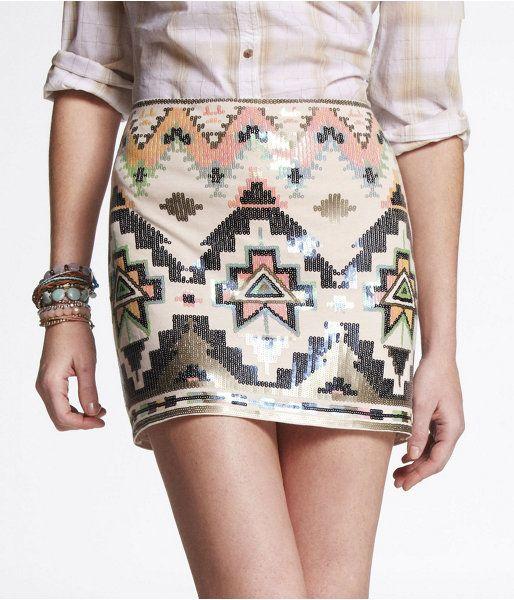 Express sequined mini $59Minis Skirts, Sequins Skirts, Style, Aztec Skirt, Saia Mini-Sequins, Embellishments Minis, Aztec Prints, Sequins Embellishments, Mini Skirts