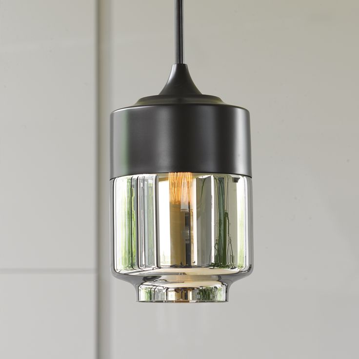 Lunar 1 light large cylinder pendant in black with smoke glass.