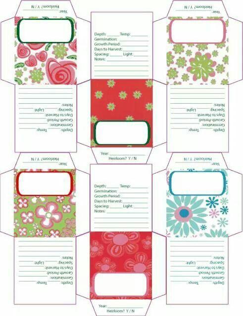 Printable seed envelopes