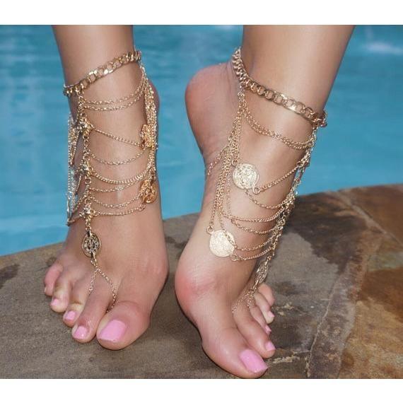 GOLD Coin Barefoot Sandals Wedding Bride Bohemian Gypsy Sandals Bohemian Boho Grecian Bollywood Beach Wedding Vacation sandals Foot Chain