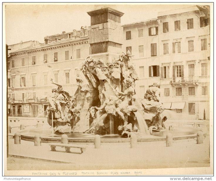 Piazza Navona. Fontana Bernini Circa 1880