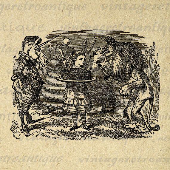 Lion and Unicorn Alice in Wonderland Digital Image Download