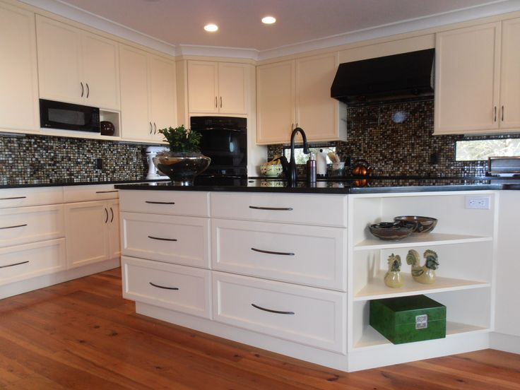 White Cabinets, White Cabinetry, Black & White Backsplash