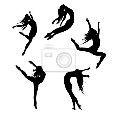 Wall Decal five black s dancing(jumping) woman - party • PIXERSIZE.com