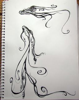 My use of line is influenced by (1. calligraphy, one of my loves and (2. Art Nouveau, another one of my loves. See Victor Horta  or Aubrey...
