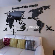 Hot! Mapa do mundo de acrílico cristal 3D adesivos de parede do escritório sala de estar sofá fundo Home decor Art Decalques Da Etiqueta Do Presente Do Natal(China (Mainland))
