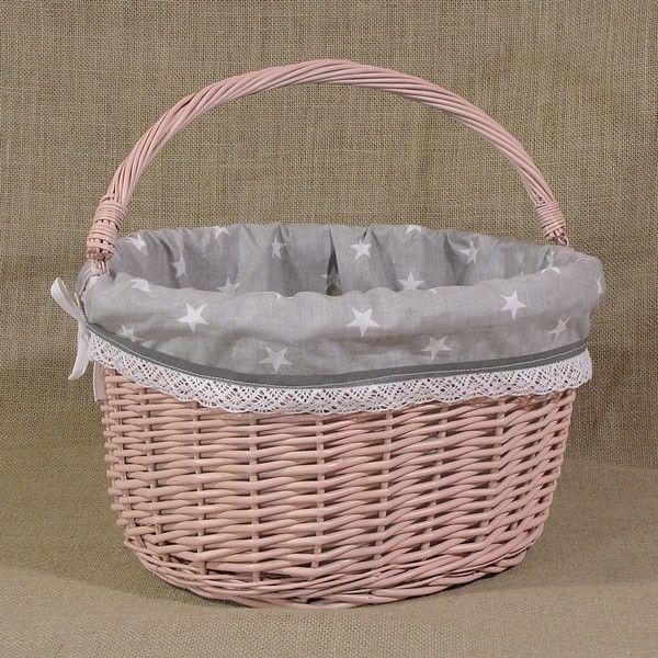 Różowy wiklinowy koszyk rowerowy z wyściółką wzór biała gwiazda na szarym tle + odblask