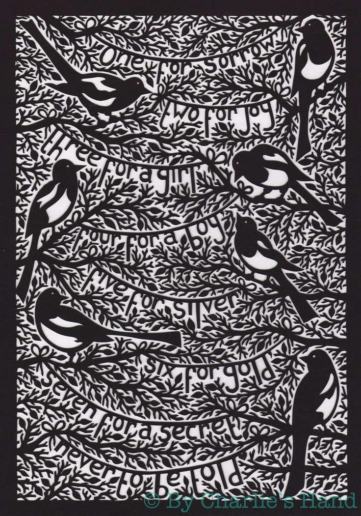 Magpies A4 Papercut by By Charlie's Hand