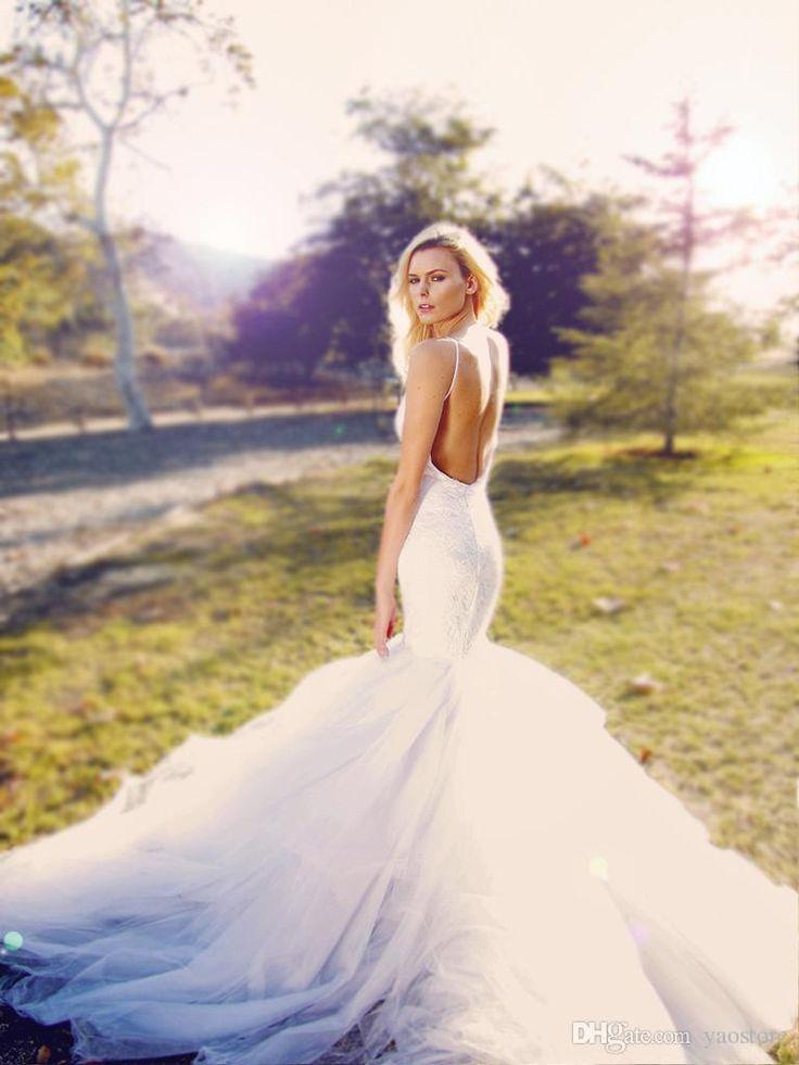 Fresh Spaghetti Strap Neckline Bridal Gowns Lace Mermaid Wedding Dresses Blush Hayley Paige Bridal Lace Tulle Chapel Train Sweetheart Strap