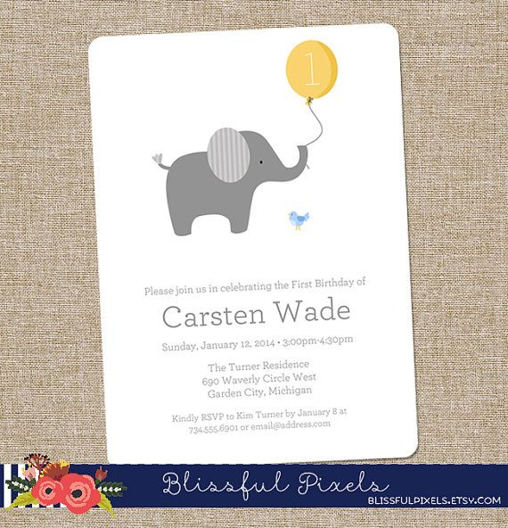 Birthday Party Invitation - Little Elephant with Ballon, yellow - First Birthday, Twins, Boy, Girl, Baby Shower, Simple (DIY Printable)