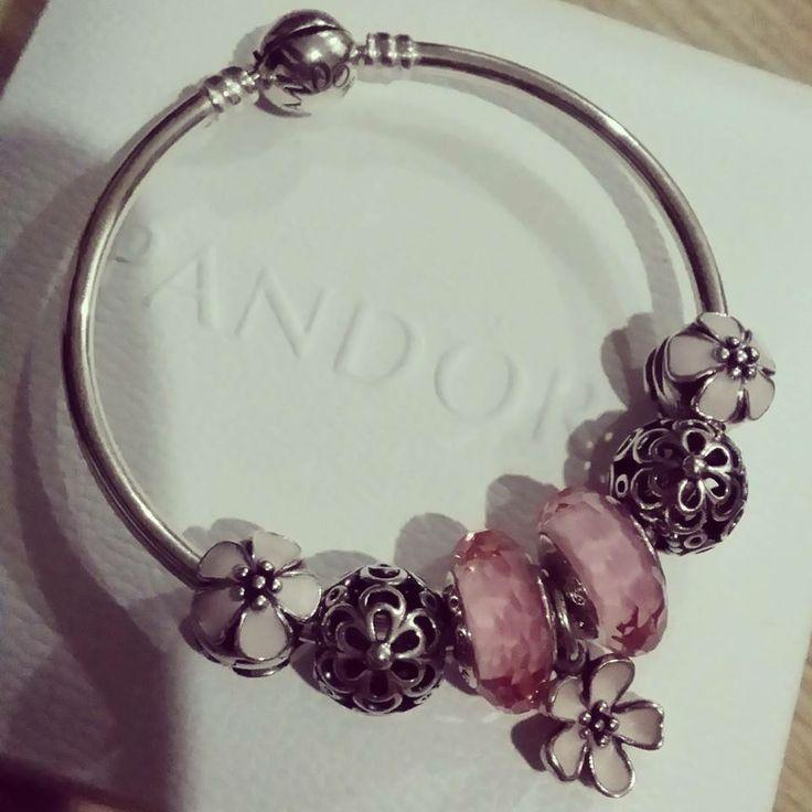 Pandora Bangle Showcasing Cherry Blossom Clips N Dangle