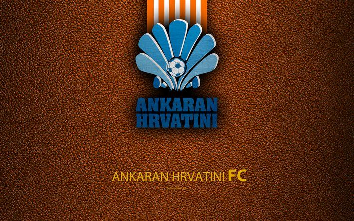 Download wallpapers Ankaran Hrvatini FC, 4k, Slovenian football club, emblem, leather texture, PrvaLiga, Koper, Slovenia, Slovenian First Football League, football