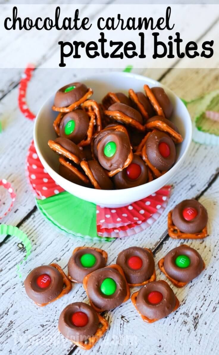 These chocolate caramel pretzel bites are so simple to make and so delicious to eat! With red and green candies they'd be a perfect idea to wrap up as holiday gifts for Christmas.