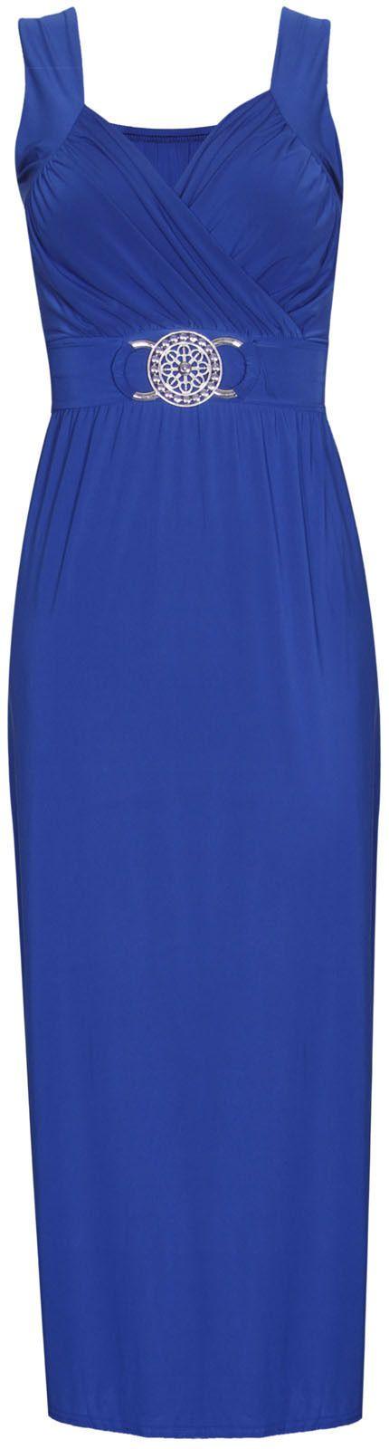 Vestito lungo donna avvolgente senza maniche con cintura Da sera Plus Size | eBay