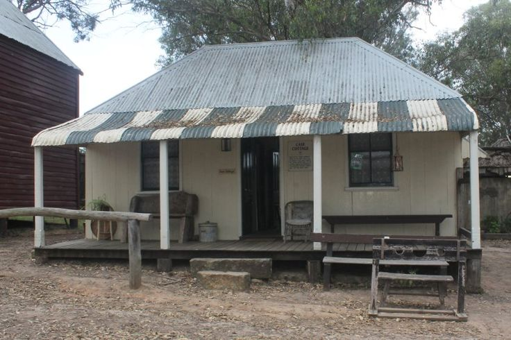 Case Cottage 1896  Built of pit sawn Ironbark timber in the drop slab style by Herbert Case. Once a month, the  center inside wall of the cottage would be removed and the building became a dance hall for the local folk.
