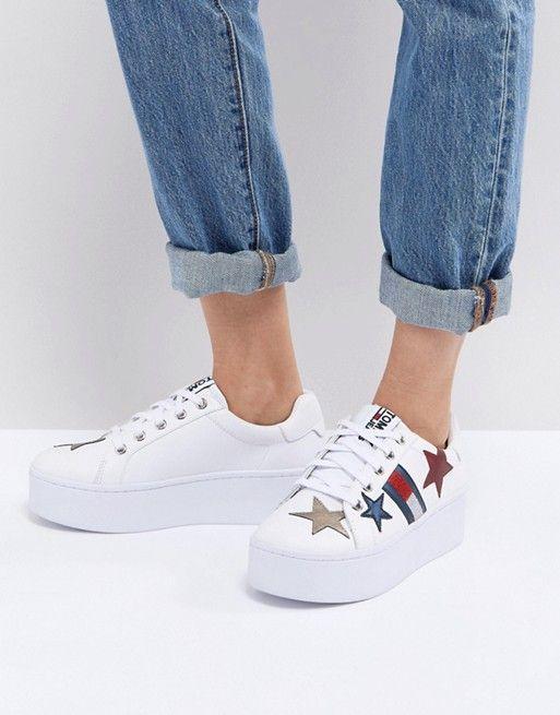 cc55b6483a73 Tommy Jeans Star Flag Platform Sneakers   ASOS   Tommy hilfiger ...