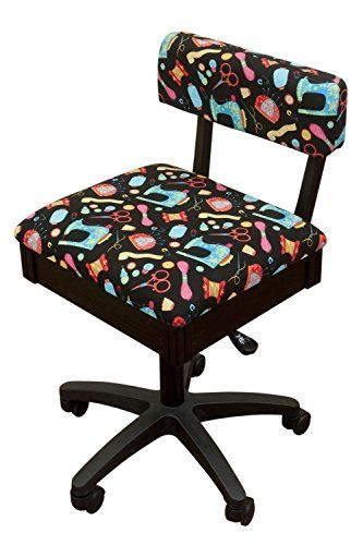 High Quality Arrow Height Adjustable Hydraulic Sewing Chair   Black With Black Riley  Blake Fabric   Deal A Deal Ideas