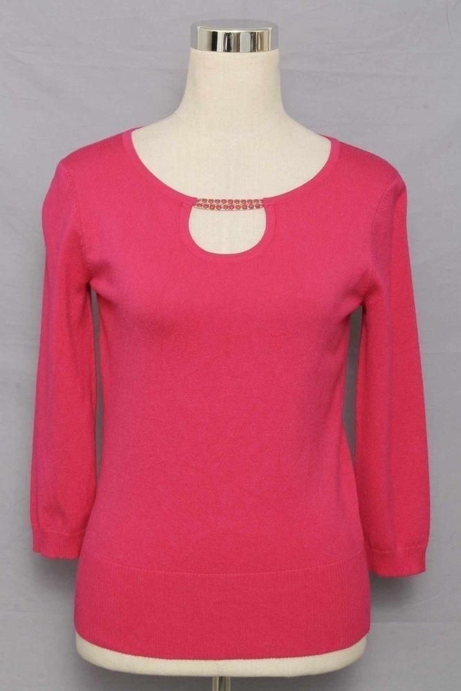 Cable & Gauge Petite Size S Fuchsia 3/4 Sleeve Knit Top 406 ST515  | eBay