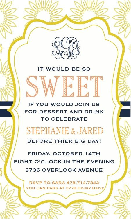 I like this one, but you would have to see if they could do it as a wedding invitation - DIY Dessert Party Invitation. $13.00, via Etsy.