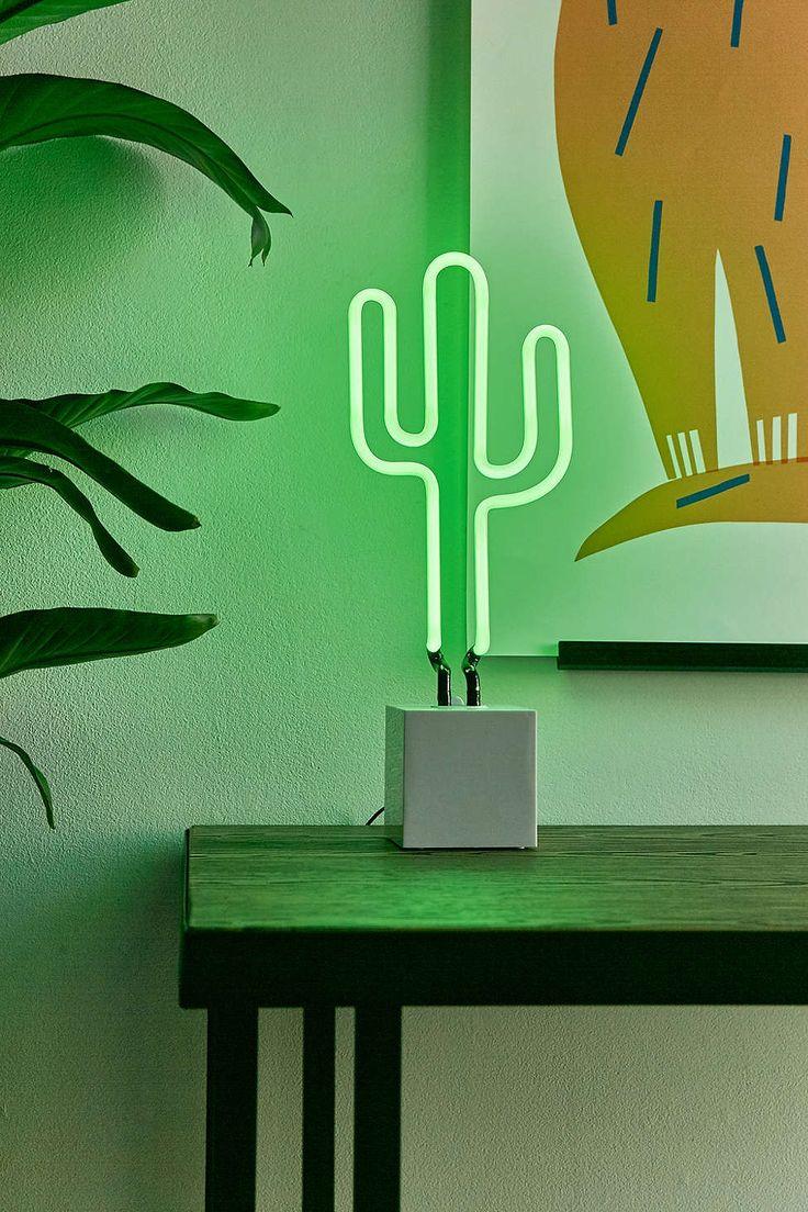Neon Table Light: Neon Mfg. Cactus Neon Sign Table Lamp