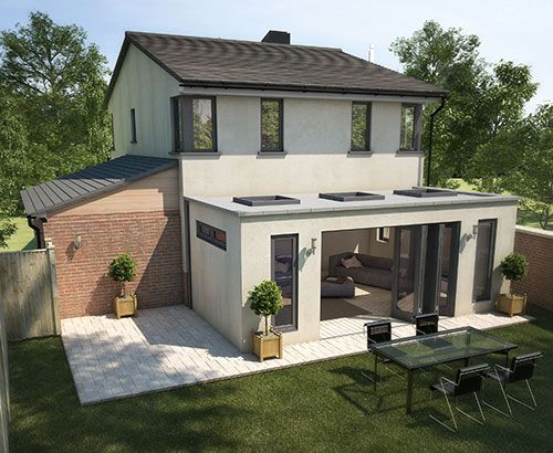 Flat roof conservatory with skylights. Side window is a nice idea