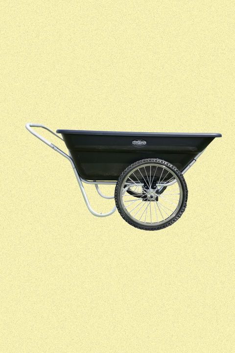 Haul mulch, compost, or new plants in a sturdycart. This one carries up to 400 pounds with the weight balanced over the wheels, not in the handle, as with a traditional wheelbarrow.   BUY NOW