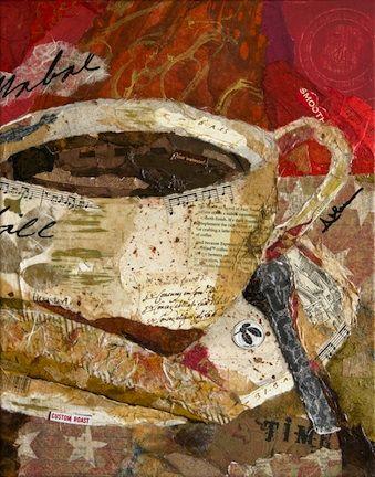 Torn paper collage paintings Coffee Smooth Awakening Althea Sassman