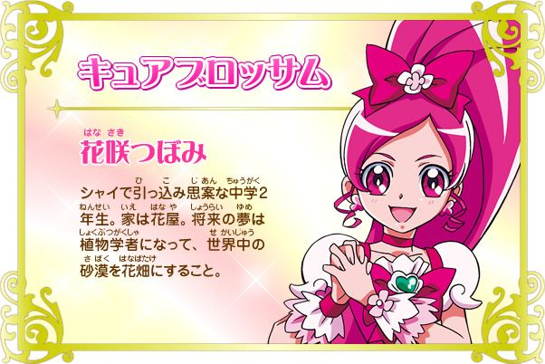 Cure Blossom from Heartcatch Pretty Cure!: Hana no Miyako de Fashion Show... Desu ka!? Cure Blossom& Chypre (source:an anime scans gallery)