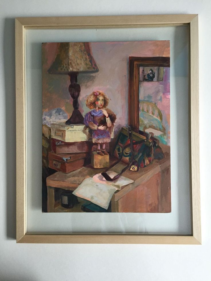 "Contemporary original painting ""Girl's night table"" by Ksenia Sapunkova, acrylic on masonite. Signed"