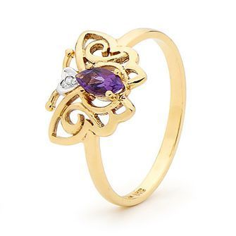 Buy our Australian made Amethyst and Diamond Butterfly Ring - BEE-24661-AM online. Explore our range of custom made chain jewellery, rings, pendants, earrings and charms.
