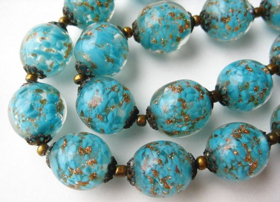 1950/'s Necklace With Venetian Glass Beads From Italy 768r