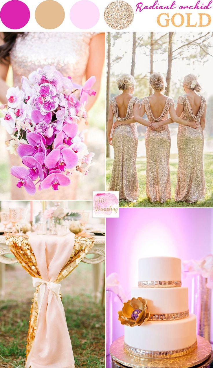 Radiant Orchid and gold wedding colors