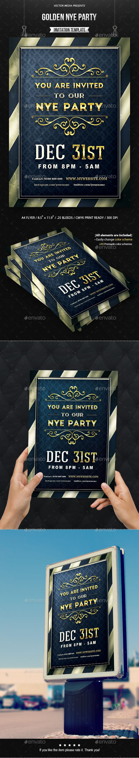 Golden NYE Party - Invitation