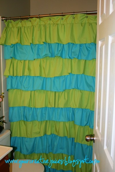 Curtain/Shower Curtain: Ruffles Shower, Kids Bathroom, No Sewing Curtains, 9 00 Ruffles, Upstairs Bathroom, Shower Curtains, Bedrooms Curtains, Ruffles Curtains, Creative Juice