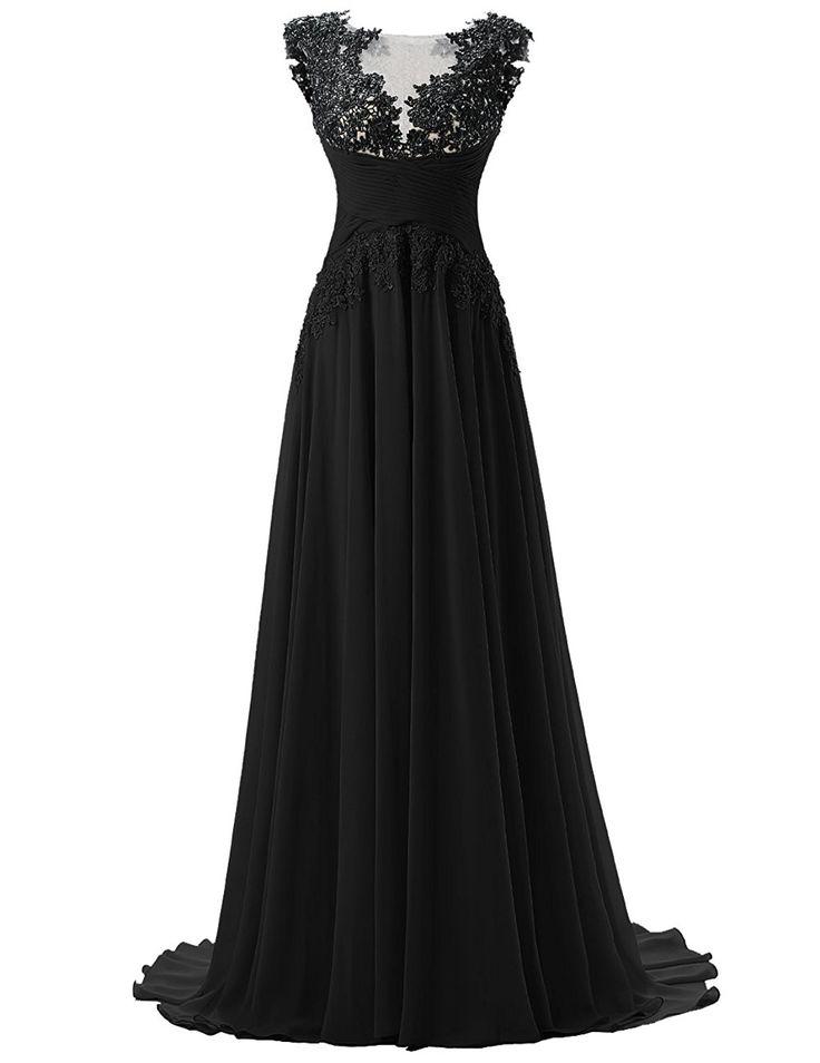 Dresstells Damen Lang Chiffon Promi-Kleider Maxi Abendkleider Grau Größe 46