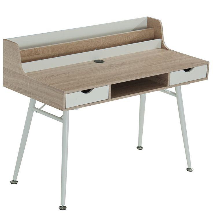 Metalic computer table  Balena melamine top oak and white 120x60x94