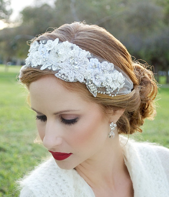 lace veil headband tulle Veil Veil alternative by GildedShadows, $118.00