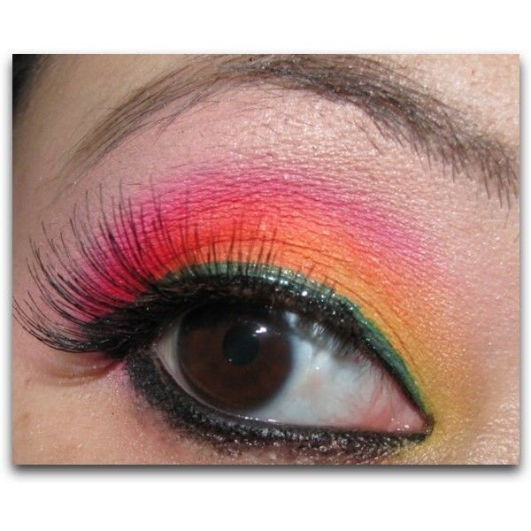 Naughty Neons - Pink Orange and Yellow Make Up Tutorial : Beauty blog MAC Make Up Cosmetics Beauty Tutorials How To Video Makeup Tutorials Celebrity TutorialsDrug Store swatches found on Polyvore