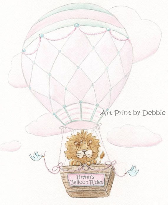 Vintage Air Balloons Personalized Baby Girl Nursery Prints