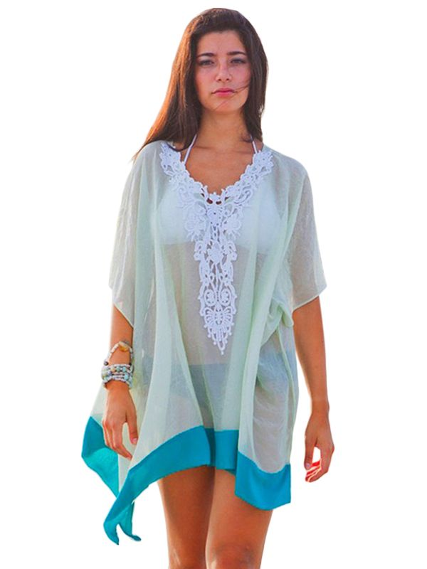 Cover-up Embroidered V Neck Tulle Beach
