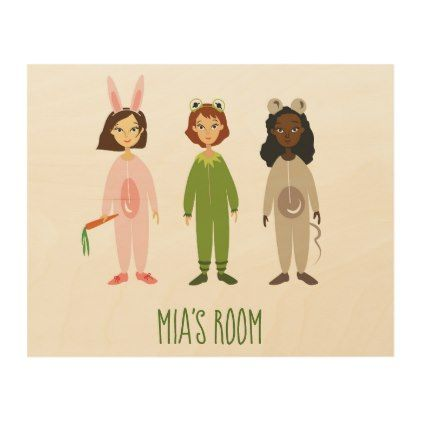 Girl's pyjama party room name wood wall decor - kids kid child gift idea diy personalize design