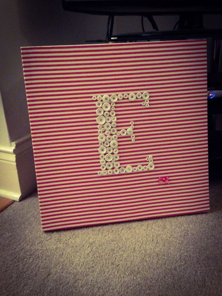 E for Eliza: Loved making this one. Fabric covered frame; buttons spray painted white and stitched on in red thread; finished off with a tiny bow. An afternoon of work and loved every minute of making it.