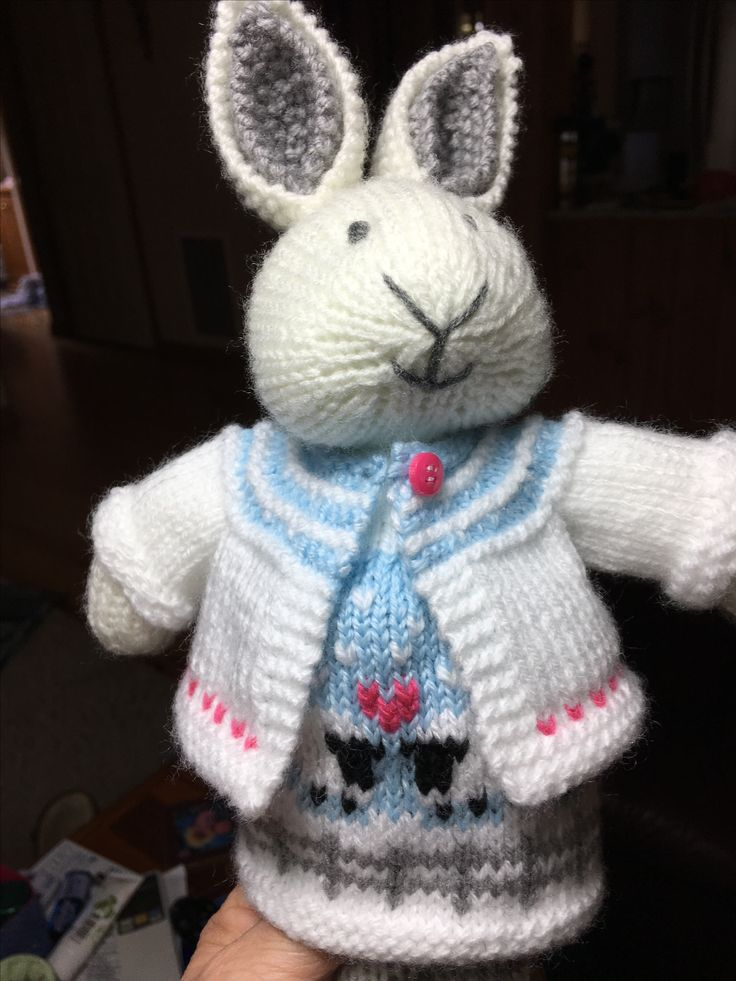 Bunny from a pattern by Julie Williams Dress from a pattern by Suzymarie