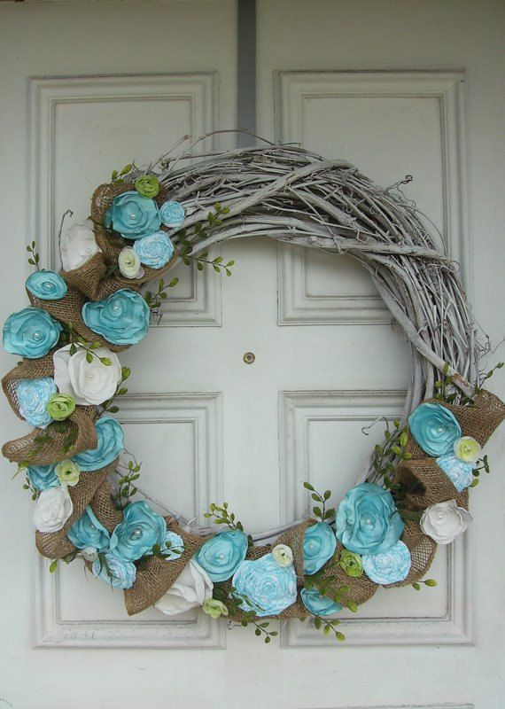 Shabby Chic Wreath in Aqua#Repin By:Pinterest++ for iPad#