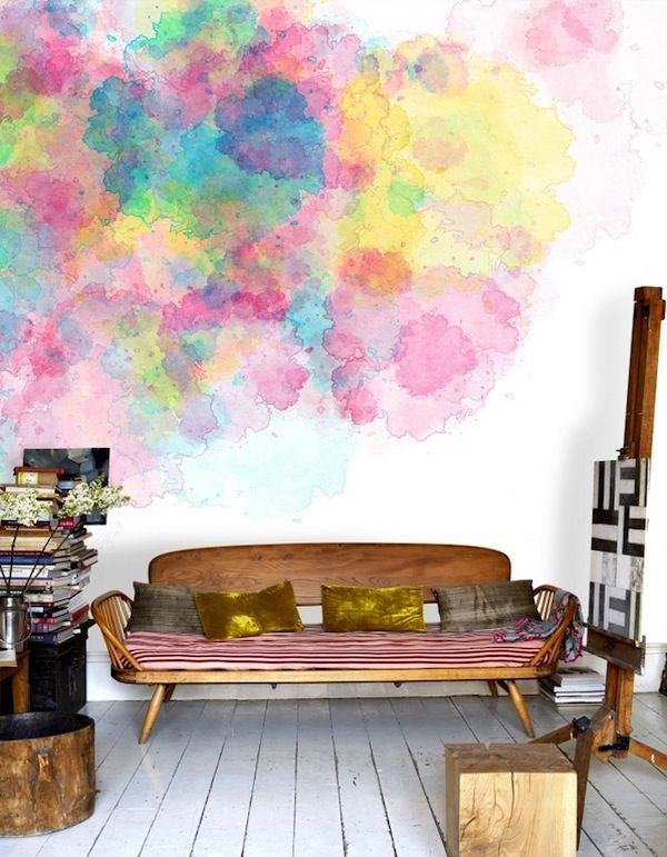 The Coolest 25 Watercolor Wall Designs - great for bathroom.