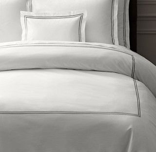 Italian Hotel Satin Stitch White Duvet Cover - traditional - duvet covers -  - by Restoration Hardware