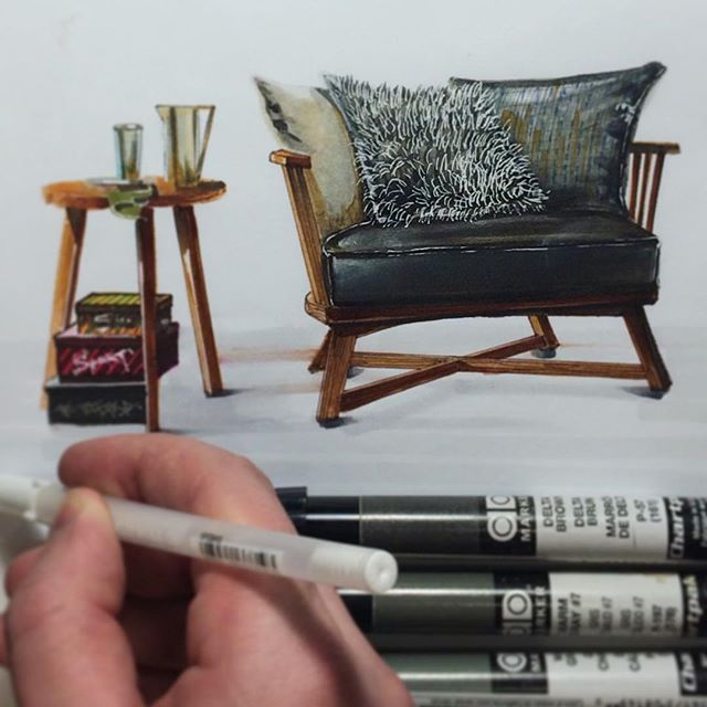 #sketch #chair маркерами #copic & #chartpak